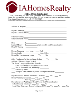 FSBO Offer Worksheet