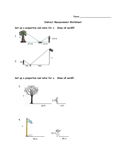 Name Indirect Measurement Worksheet Set up a proportion and