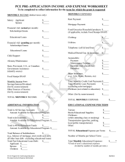 PCE PRE-APPLICATION INCOME AND EXPENSE WORKSHEET