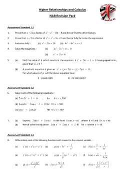 Higher Relationships and Calculus NAB Revision Pack
