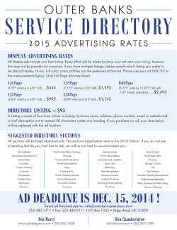 Spec Sheet - Outer Banks Service Directory