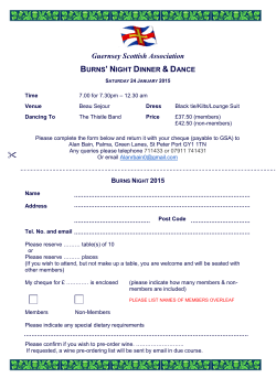 BURNS' NIGHT DINNER & DANCE - Guernsey Scottish Association