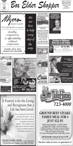 View Classifieds - Box Elder News Journal