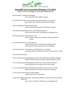 NeuroHIV Cure Consortium Meeting, 1/16/2015