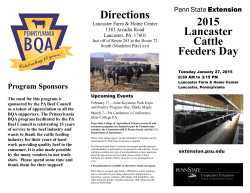 2015 Lancaster Cattle Feeders Day Directions