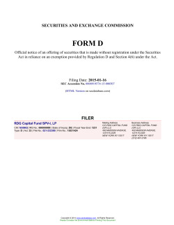 RDG Capital Fund SPV-I, LP Form D Filed 2015-01-16