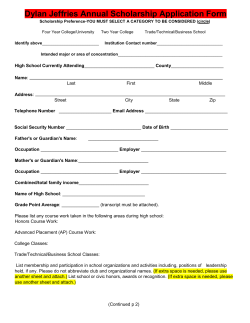 Dylan Jefferies Scholarship Application Form
