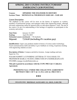 HPS283H1 2015 Course Instructor EMERGENCY JOB POSTING