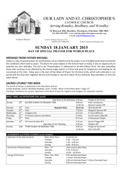 sunday 18 january 2015 - Our Lady and St. Christopher's
