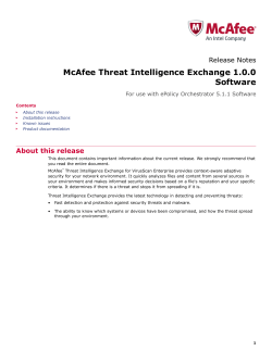 Threat Intelligence Exchange 1.0.0 Release Notes