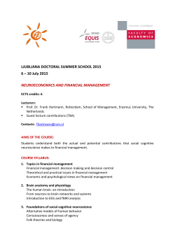 10 July 2015 NEUROECONOMICS AND FINANCIAL MANAGEMENT