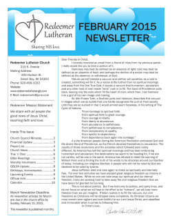 FEBRUARY 2015 NEWSLETTER - Redeemer Lutheran Green Bay