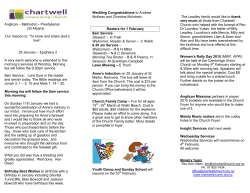 Newsletter - Chartwell Cooperating Church