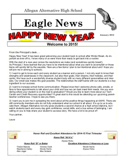 the Alt Ed. Newsletter - Allegan Public Schools