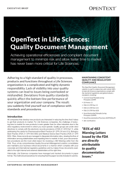 OpenText in Life Sciences: Quality Document Management