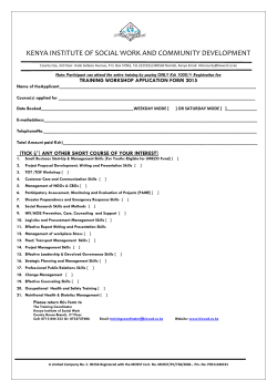 Short Courses Application Form - Kenya Institute of Social Work and