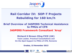JASPERS Technical Assistance (TA) to CFR