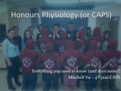 Physiology (or CAPS) - UBC Biochemistry Pharmacology and