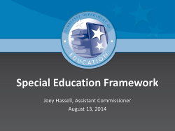 Joey Hassell -- Special Education Framework