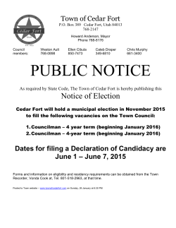 June 7, 2015 - Town of Cedar Fort, Utah