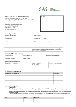 Application Form for Authorisation and Licence as Health