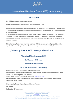 "Invitation ""Solvency II for ASSET managers/servicers"