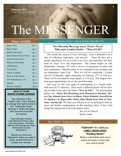 Messenger February 2015 - Peace Lutheran Church of Rosendale