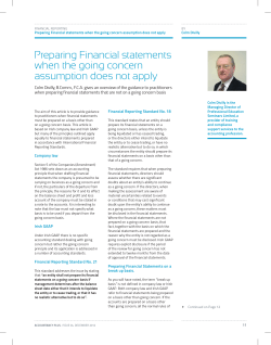 Preparing Financial statements when the going concern
