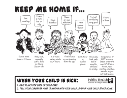 Keep Me Home If… (Guidelines for when your child is sick)
