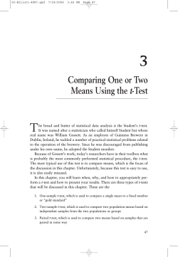 Comparing One or Two Means Using the t-Test