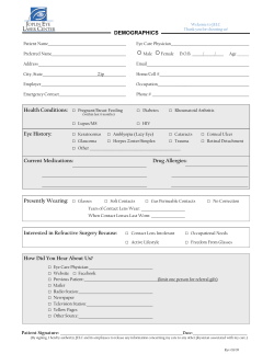 Demographic Form - Joplin Eye Laser Center