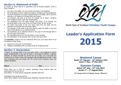 Camp 2015 Leaders Form - NorthEast Christian Youth Camps
