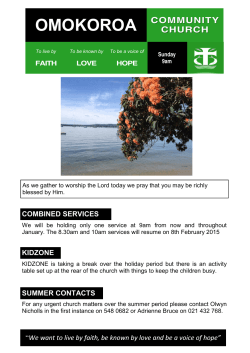 This week`s newsletter - Omokoroa Community Church