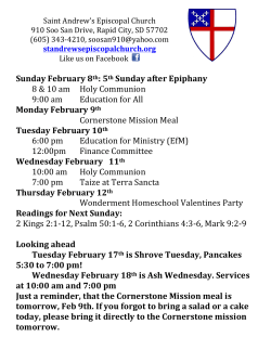 Weekly Announcements - St. Andrew`s Episcopal Church