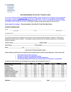 Recommendation Form - Winship Cancer Institute of Emory University