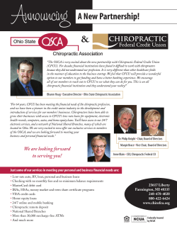Now Serving OSCA - Chiropractic Federal Credit Union
