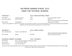 recorder summer school 2015 music for tutorial sessions