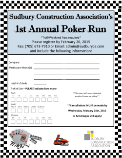 Our Next Event...1st ANNUAL POKER RUN...February 28`15