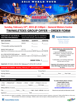 Harlem Globetrotters Half Time Show Performance Ticket Sales Sheet