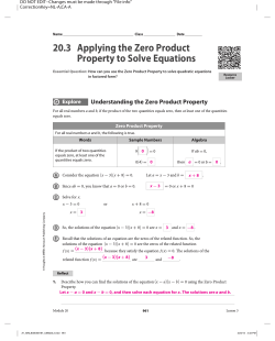 20.3 Applying the Zero Product Property to Solve Equations