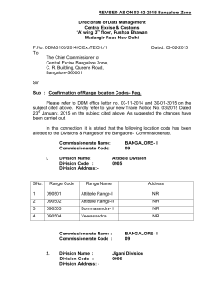 REVISED AS ON 03-02-2015 Bangalore Zone Directorate of Data