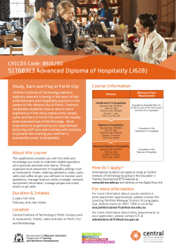 SIT60313 Advanced Diploma of Hospitality (J628)
