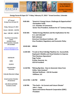 Energy Forum & Expo CO * Friday, February 27, 2015 * Grand
