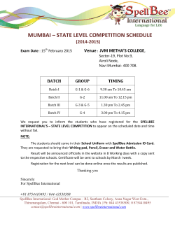 15th FEB 2015 STATE LEVEL COMPETITION SCHEDULE