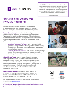 Tenure Track Positions - Home | NYU College of Nursing