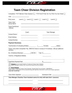 Registration Form - R12015 - Trinidad and Tobago Cheer Federation