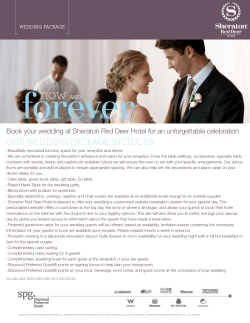 Wedding Package - Sheraton Red Deer Hotel