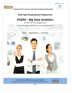 Admissions to PGDM on Big Data Analytics (1 Year Full