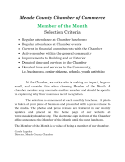 Member of the Month How we Choose