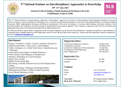 3rd National Seminar on Interdisciplinary Approaches to Knowledge